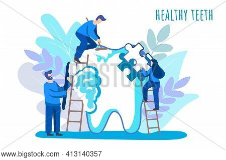 Dentist Tiny People Care Of Big White Tooth Dental Clinic Background Vector Illustration Concept Med