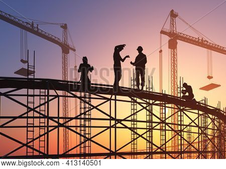 Builders at the construction site.,3d render
