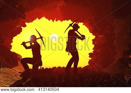 Silhouettes of workers in the mine.,3d render