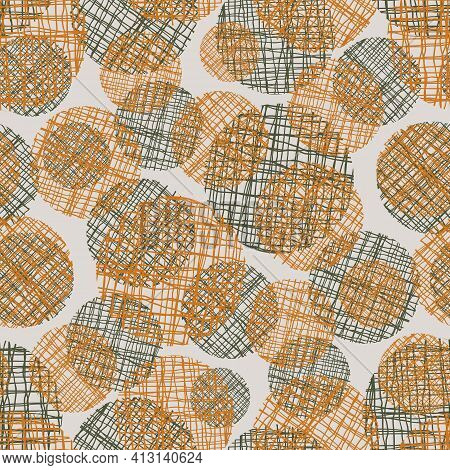 Irregular Weave Yarn Vector Circle Seamless Pattern Background. Backdrop With Small And Large Ochre