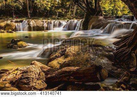 Panoramic Exotic  Beautiful Tropical Deep Rainforest Waterfall  And Lake Panorama Landscape Of Huay