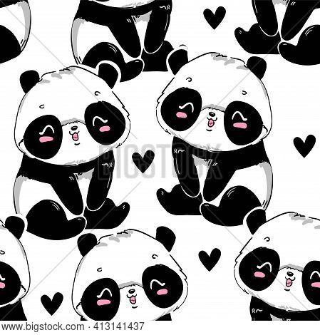 Panda With Heart Background. Hand Drawn Beautiful Panda Bear Print Seamless Pattern.