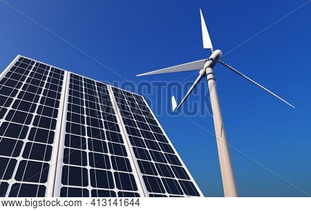 Of wind generators and solar panels on the sky.,3d render