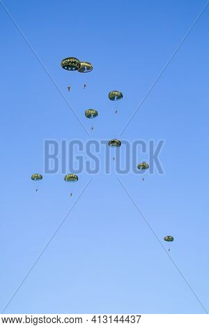 Paratroopers In The Sky After Jump From Airplane Netherlands