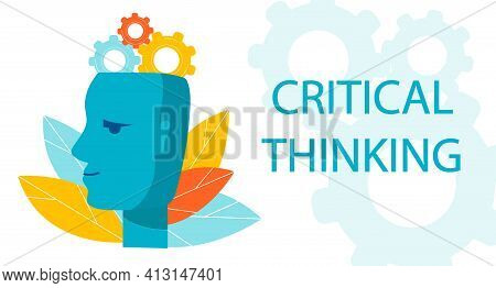 Symbol Of Critical Thinking. Profile Of The Head With Gear Mechanism. Metaphor Of The Work Of The Br
