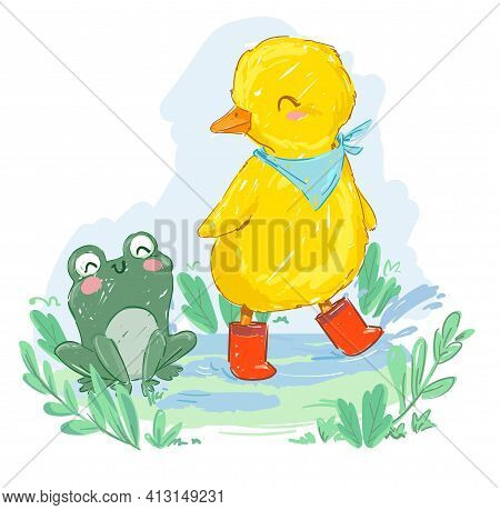 Hand Drawn Cute Duckling And Frog Vector Illustration Cute Friends On A Rainy Day