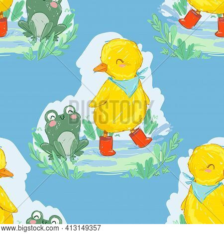 Hand Drawn Cute Duckling And Frog Vector Illustration Seamless Pattern Cute Friends On A Rainy Day D
