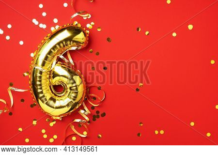 Gold Foil Balloon Number And Digit Six 6. Birthday Greeting Card. Anniversary Celebration Event. Ban