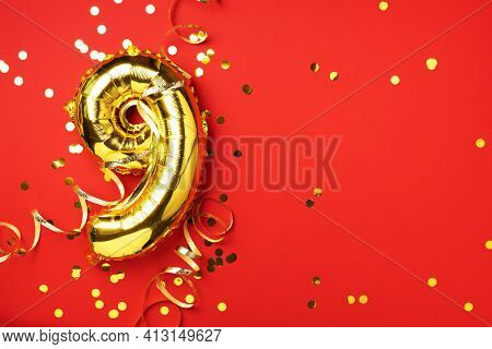 Gold Foil Balloon Number And Digit Nine 9. Birthday Greeting Card. Anniversary Celebration Event. Ba