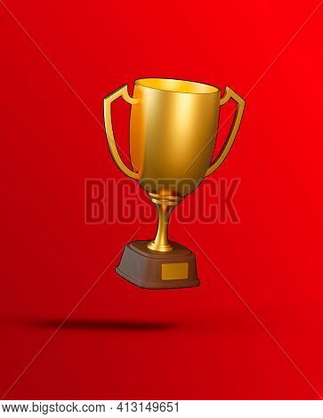 Flying Golden Trophy Cup On Red Background. Sport Tournament Award, Gold Winner Cup And Victory Conc
