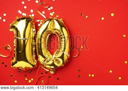 Gold Foil Balloon Number, Digit Ten. Birthday Greeting Card With Inscription 10. Anniversary Celebra