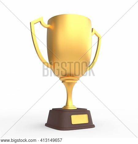 Realistic Golden Trophy Cup Isolated On White Background. Sport Tournament Award, Gold Winner Cup An