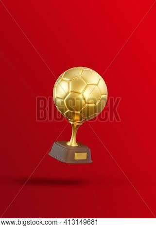 Flying Golden Football Trophy Cup On Red Background. Sport Tournament Award, Gold Winner Cup And Vic