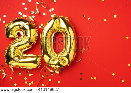 Gold Foil Balloon Number, Digit Twenty. Birthday Greeting Card With Inscription 20. Anniversary Cele