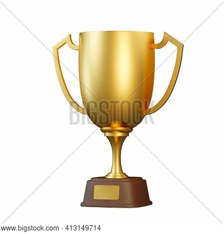 Golden Trophy Cup Isolated On White Background. Sport Tournament Award, Gold Winner Cup And Victory