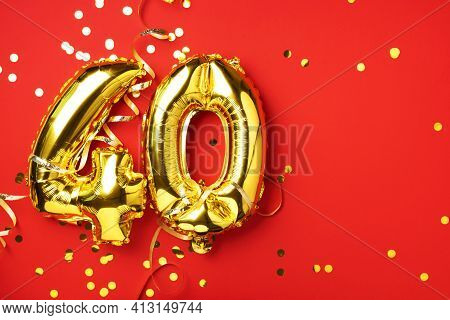 Gold Foil Balloon Number, Digit Forty. Birthday Greeting Card With Inscription 40. Anniversary Celeb