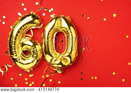 Gold Foil Balloon Number, Digit Sixty. Birthday Greeting Card With Inscription 60. Anniversary Celeb