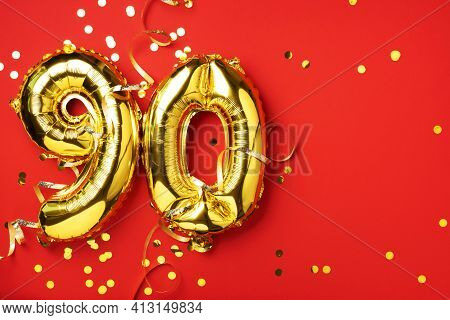 Gold Foil Balloon Number, Digit Ninety. Birthday Greeting Card With Inscription 90. Anniversary Cele