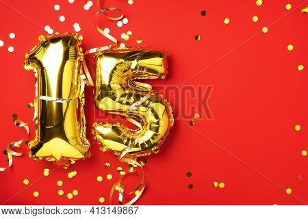 Gold Foil Balloon Number, Digit Fifteen. Birthday Greeting Card, Inscription 15. Anniversary Celebra