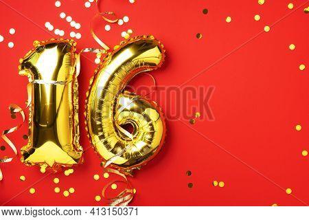Gold Foil Balloon Number, Digit Sixteen. Birthday Greeting Card, Inscription 16. Anniversary Celebra