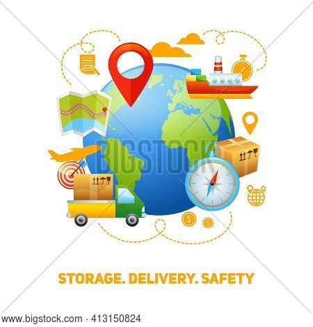 Worldwide Global Freight Storage And Safe Speedy Delivery Service Logistic Concept Design Poster Pri