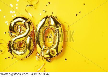 Gold Foil Balloon Number, Digit Eighty. Birthday Greeting Card, Inscription 80. Anniversary Celebrat