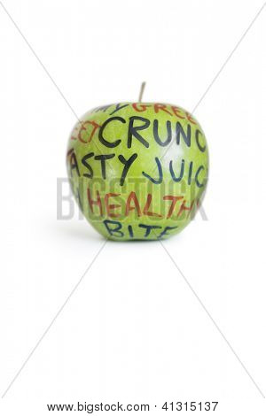 Close-up of a granny smith apple with orthographic text over white background