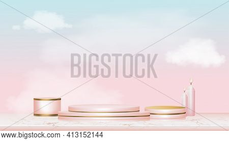 Vector 3d Showcase Display With White Fluffy Clouds In Blue And Pink Pastel And Yellow Gold Stand,re
