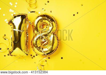 Gold Foil Balloon Number, Digit Eighteen. Birthday Greeting Card, Inscription 18. Anniversary Celebr