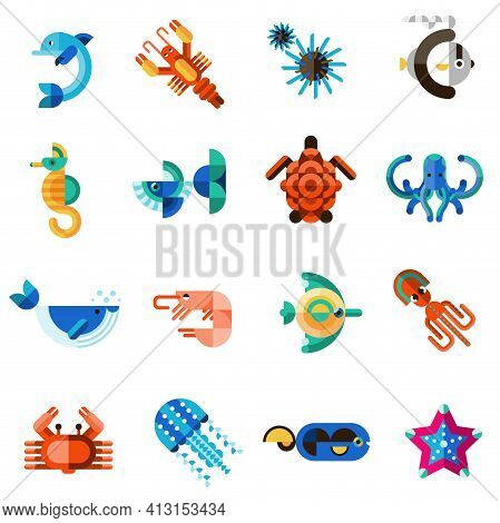 Sea Creatures Underwater Animal Life Set With Dolphin Seahorse Fish Crab Isolated Vector Illustratio