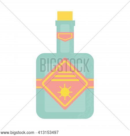 Bottle Of Alcohol, Another Drink Or Water. Party, Pub, Restoraunt Or Club Element. Alcohol Coctail W