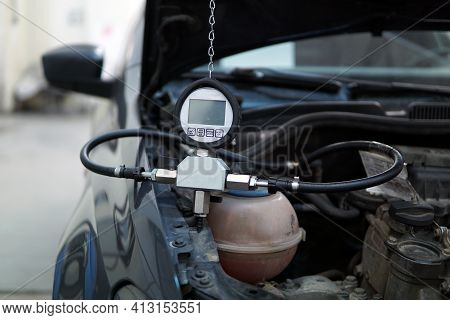 Special Diagnostic Equipment Is Connected To The Vehicle. Diagnostics And Identification Of The Caus