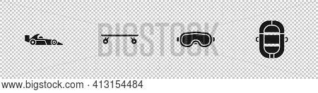 Set Formula 1 Racing Car, Longboard Skateboard, Ski Goggles And Rafting Boat Icon. Vector