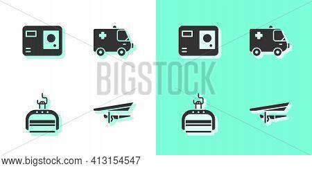 Set Hang Glider, Action Extreme Camera, Ski Lift And Ambulance And Emergency Car Icon. Vector
