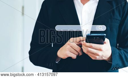 Man's Hand Use Smartphone To Find Things That Interest You. Finding Information About Internet Netwo