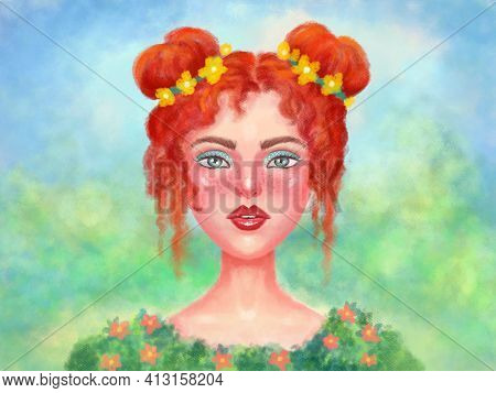 Illustration Of A Beautiful Red-haired Girl With Red Hair Buns. Spring, Spring Beauty Of Green Shade