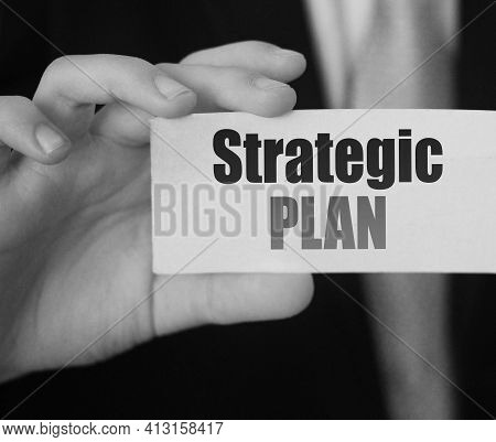 Strategic Plan On Catf In Businessman Had. Business Plan Concept.