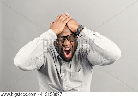 Frustrated African-american Guy Screaming No, Stressful Black Holding Man Has Panic Attack, Depressi