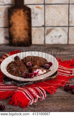 Dumplings, Filled With Cottage Cheese And Cherries And Served With Suagr. Varenyky, Vareniki, Pierog