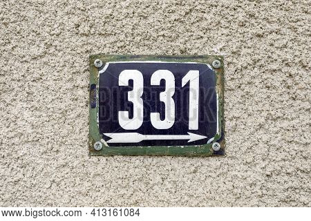 Number 331 Number Of Houses Apartments Streets. White Number Of Blue Metal Plate House Number Three