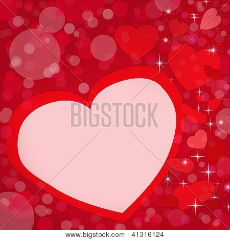 Greetings Card The Day Of Lovers With Red Hearts And Space For Text