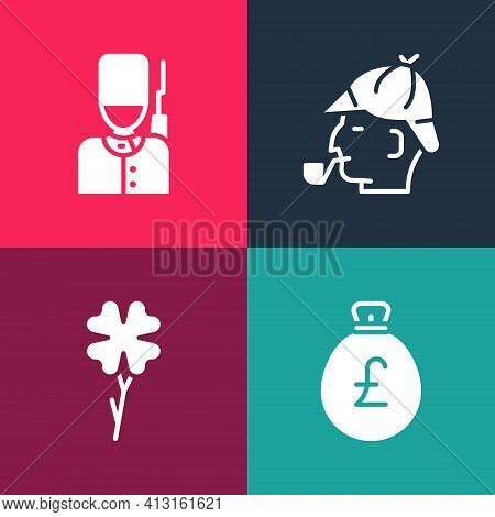 Set Pop Art Money Bag With Pound, Four Leaf Clover, Sherlock Holmes And British Soldier Icon. Vector