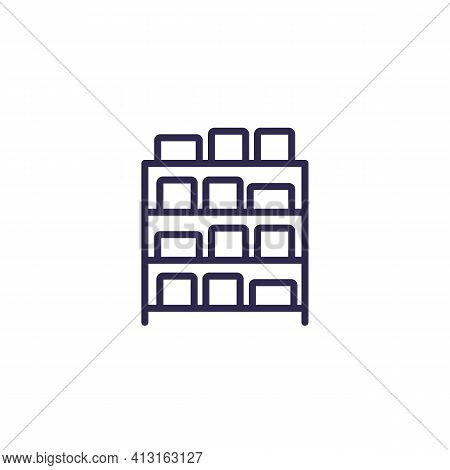 Inventory, Boxes On Shelves Line Icon, Vector
