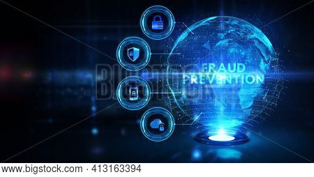 Cyber Security Data Protection Business Technology Privacy Concept. Fraud Prevention 3d Illustration