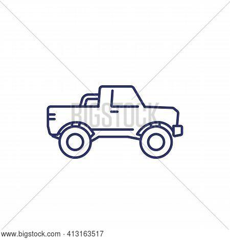 Pickup Truck Icon On White, Line Art