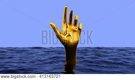 Surreal Vaporwave Concept With Golden Hand Gesturing From Underwater. Blue Sea Or Ocean With Touchin