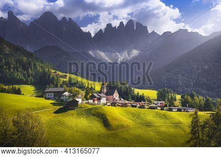 Dolomites Alps, Santa Magdalena Church View And Odle Mountains In Funes Valley, Trentino Alto Adige