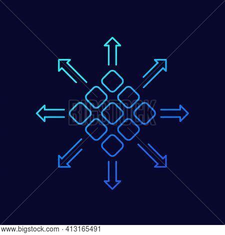 Distribution Icon With Arrows, Line Vector Design