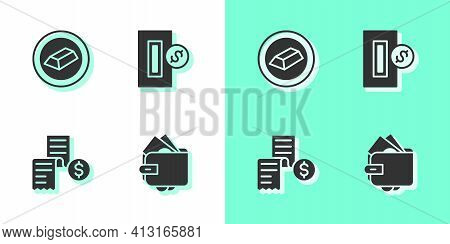 Set Wallet With Money, Gold Bars, Paper Or Financial Check And Inserting Coin Icon. Vector