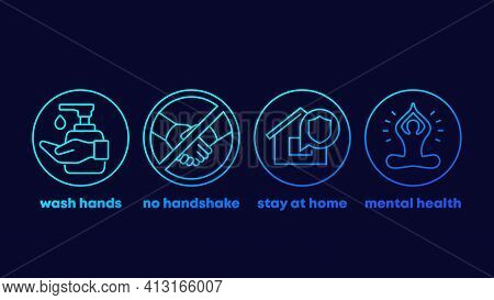 Stop Coronavirus Advices, Stay At Home Icons